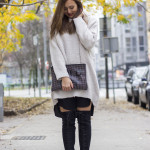 Knit sweater and  overknee  boots