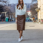 Back to winter with leather skirt